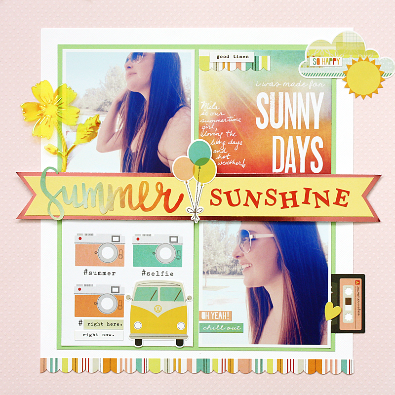@kellycreates @cdnscrapbooker @bazzillbasics #scrapbooking #layout #summer #simplestories