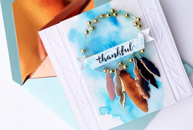 @kellycreates @bazzillbasics #wermemorykeepers #thanksgivng #thankyou #card #feathers
