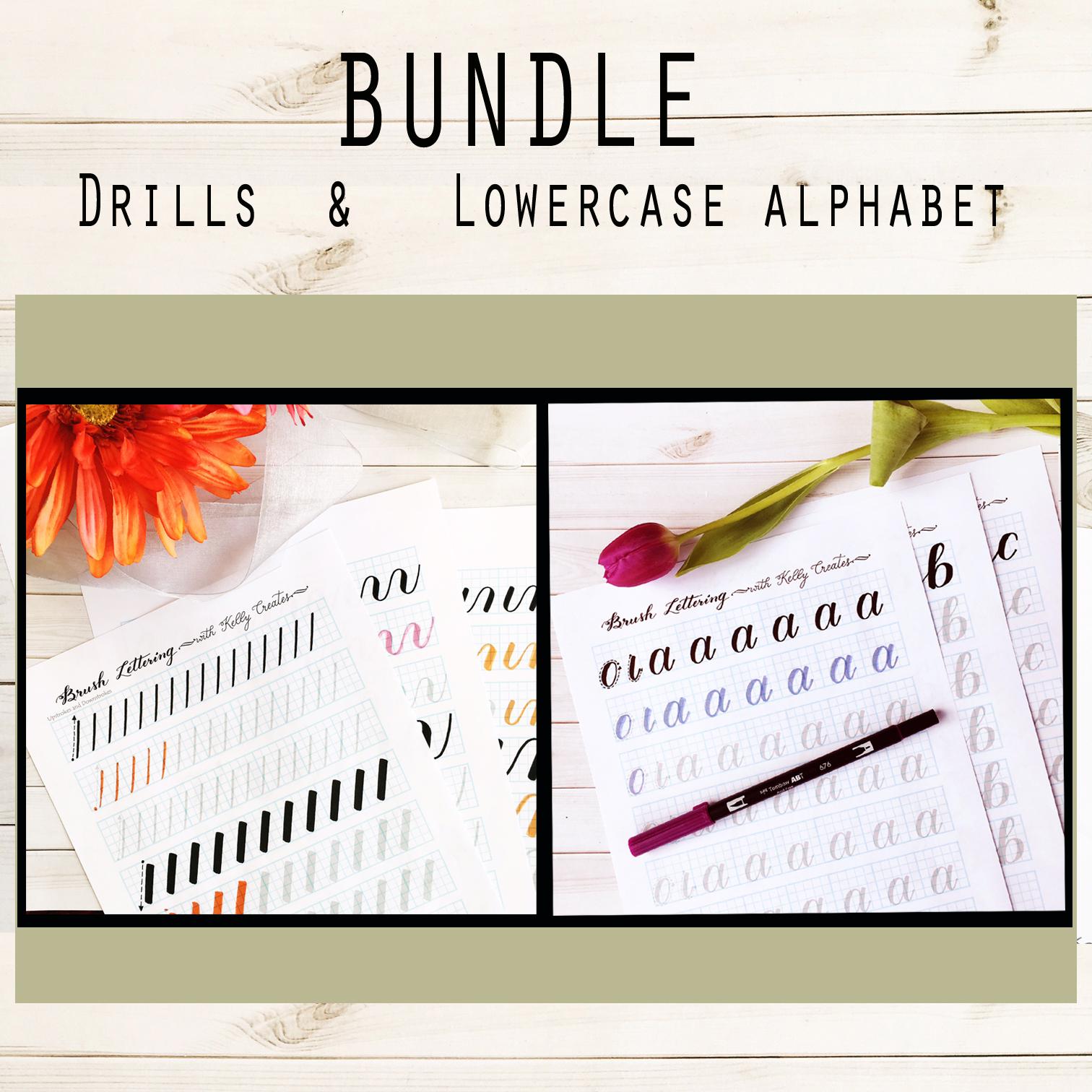 Kellycreates Brushlettering Learn Guide Worksheets Practice Drills Script