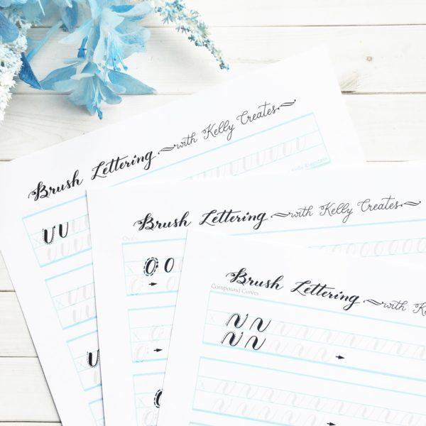 @kellycreates #learn #brushlettering #script #worksheets #guide #practice #calligraphy