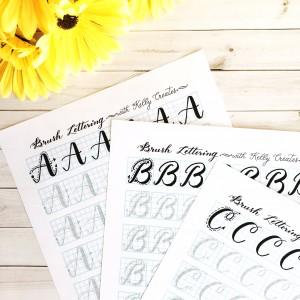 @kellycreates #brushlettering #brush #lettering #handlettering #worksheets #practice #guide #alphabet #writing