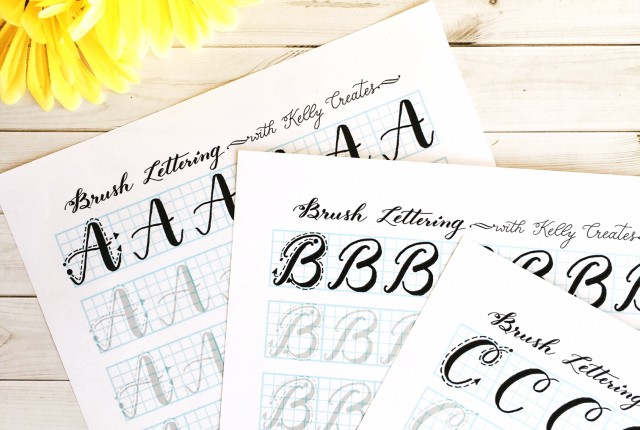 Capital Letter Brush Lettering Practice Sheets Now Available