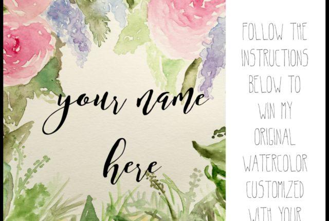 @kellycreates #giveaway #instagram #watercolor #handettering #brushlettering
