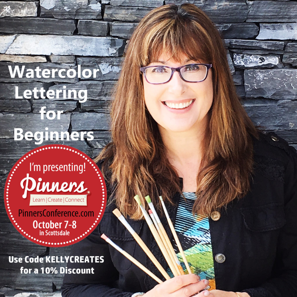 @kellycreate @pinnersconf #watercolor #lettering #brushlettering #workshop #class #course