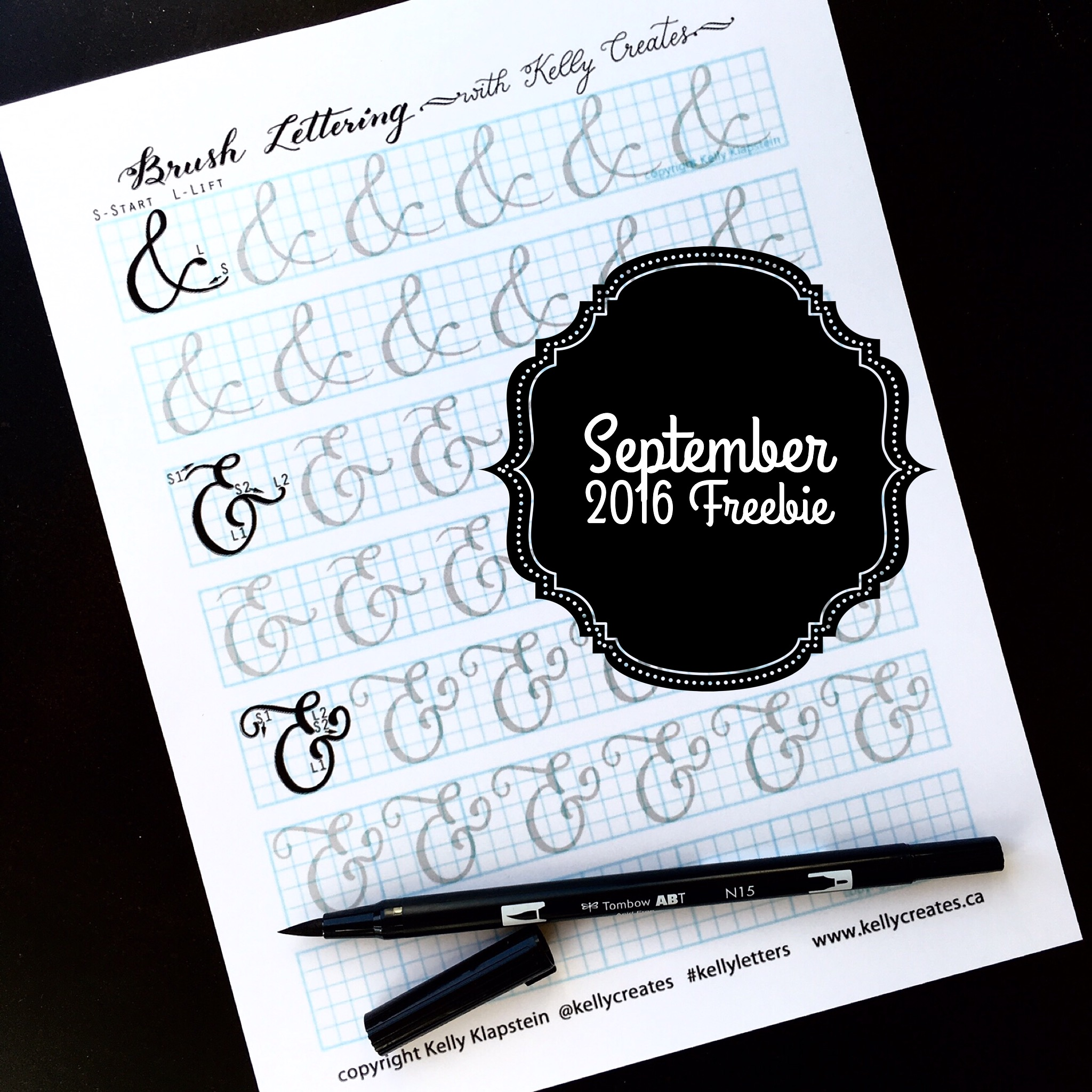 Kellycreates Free Worksheet Guide Practice Calligraphy Ampersands Sheet