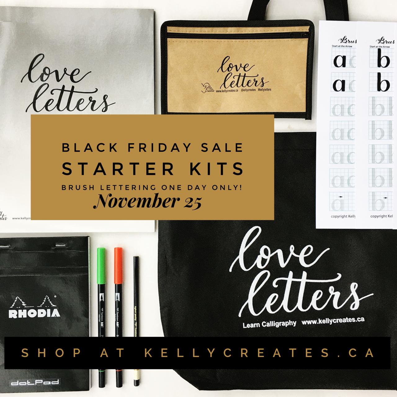Black friday brush lettering starter kit kelly creates
