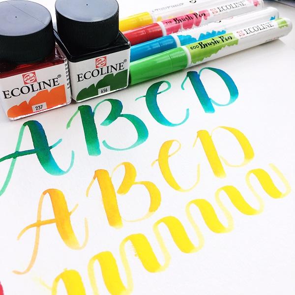 @kellycreates @royaltalens #ecoline #watercolor #calligraphy #brushlettering #handlettering #lettering #alphabet #learn