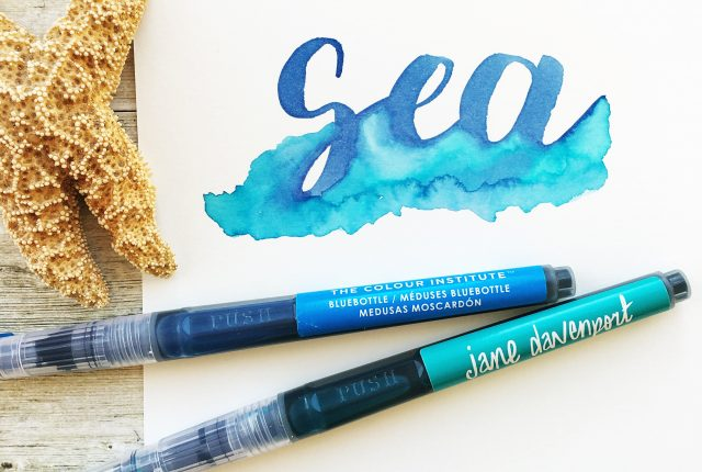 @kellycreates #watercolor #brushlettering #calligraphy @americancrafts @janedavenport #mermaidmarkers #brush Learn brush lettering with watercolors and tracing guide worksheets