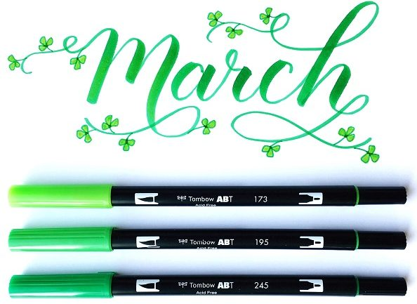 @kellycreates @tombowusa #march #shamrocks Flourishing with March word art free download print using Tombow Dual Brush pens #brushlettering #learn #calligraphy