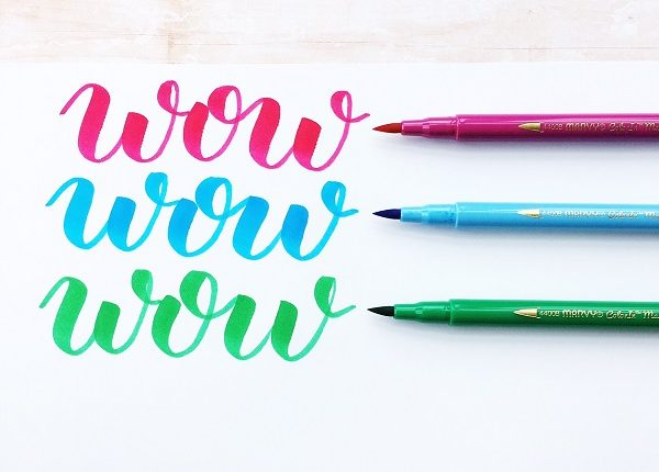 Learn about brush pens and lettering on the Kelly Creates blog www.kellycreates.ca @kellycreates @marvyuchida #calligraphy #lettering #handlettering #learn #worksheets