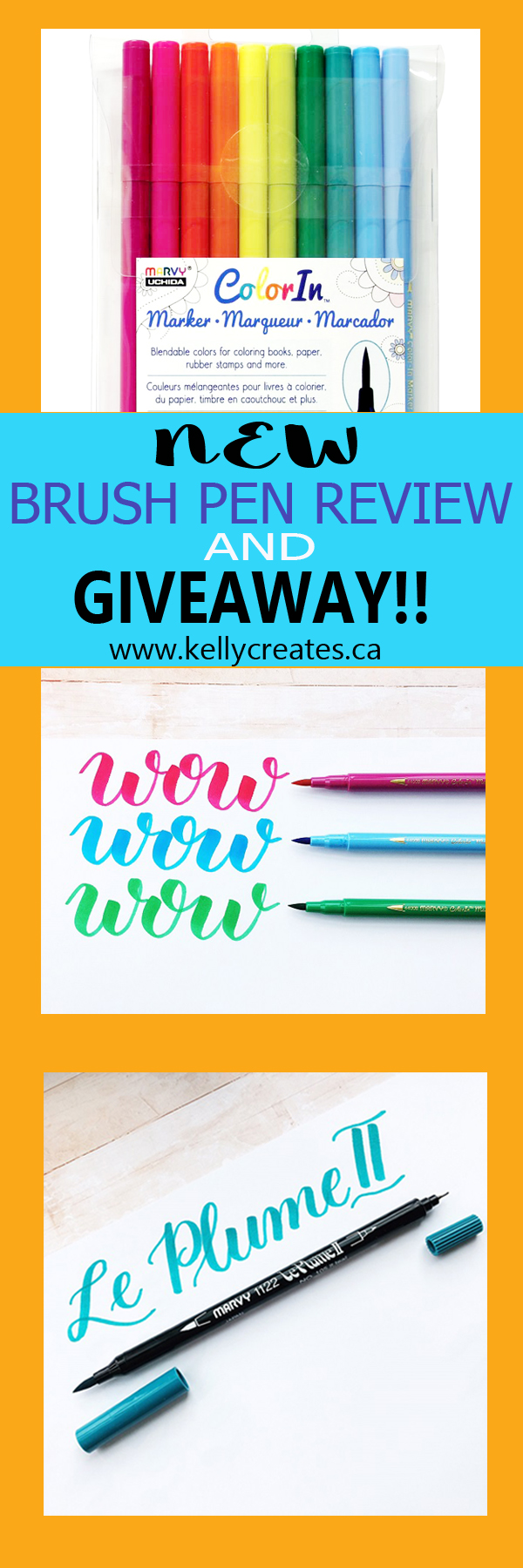 Learn Brush Lettering with awesome worksheets and read this Marvy Uchida Pen Review: Le Plume II and Color In Brush Markers @kellycreates #lettering #brushlettering #giveaway
