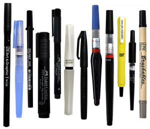 An excellent sample set of all kinds of brush pens! Must have them all. From Paper and Ink Arts online store.