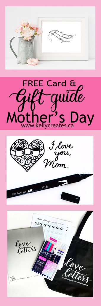 Love these sweet FREE Mother's Day card that you can color or not! Plus lots of great gift ideas for mom too. www.kellycreates.ca