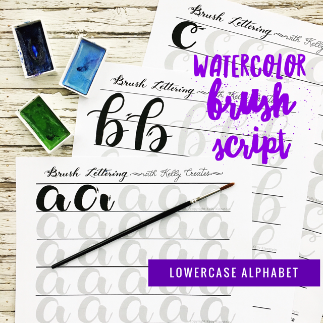 Ooooohhh! Learn beautiful brush script with watercolors using this fabulous set of worksheets, designed by KellyCreates Kelly Klapstein. So relaxing and calming! LOVE all the pretty watercolor letters! www.kellycreates.ca