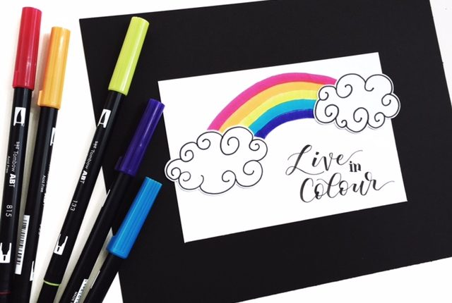 A really cute and easy rainbow tutorial by Kelly Klapstein @kellycreates using Tombow brush pens and the Brother ScanNCut machine.