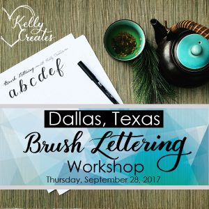 www.kellycreates.ca/shop Learn brush lettering in Dallas September 2017 with Kelly Creates (Kelly Klapstein!) You will fall in love with calligraphy and brush pens! All supplies included! A wonderful 3 hour evening with friends!