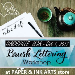 Kelly Klapstein is teaching brush lettering in Nashville, Oct 1 2017! Join Kelly and learn the beautiful and relaxing art of calligraphy using brush pens.
