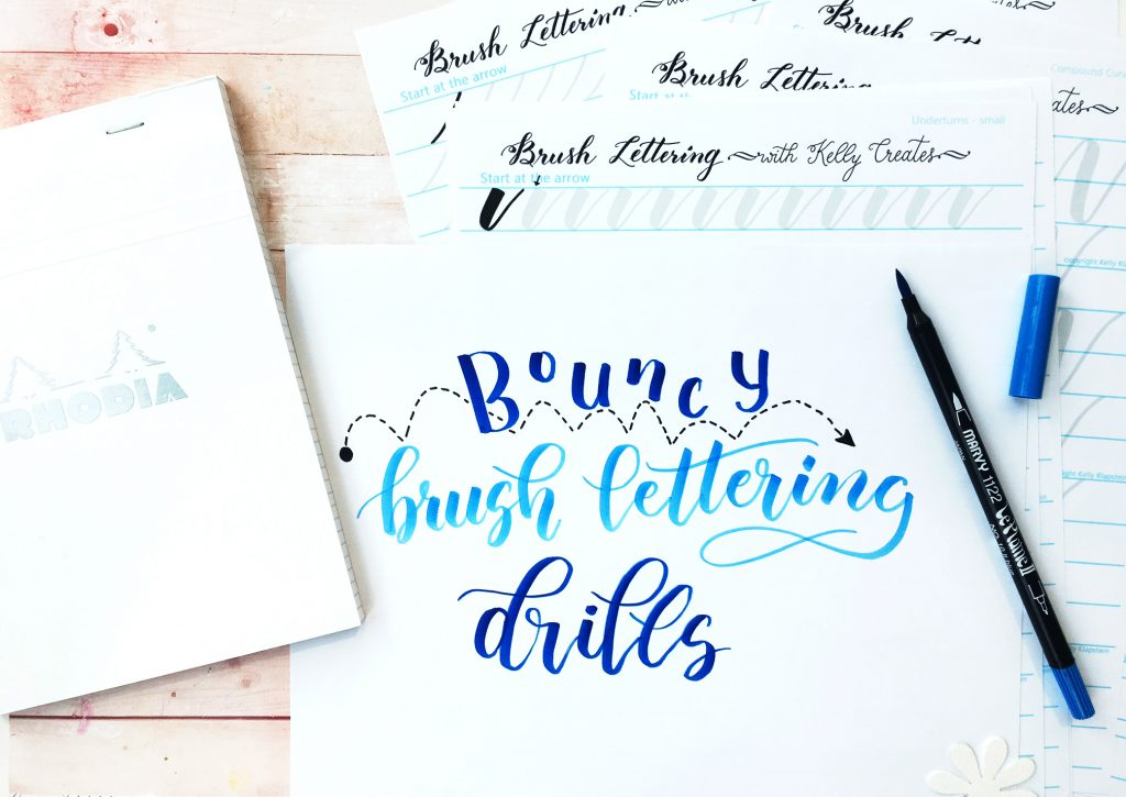 FREE Bouncy brush lettering drills worksheets .... 22 pages! THese are AWESOME! www.kellycreates.ca