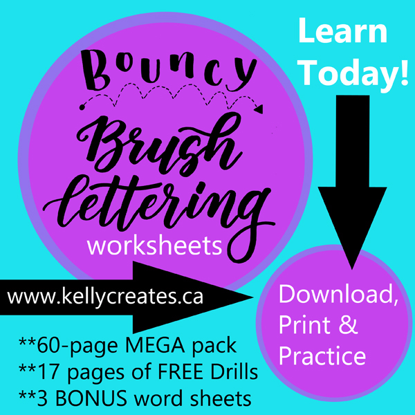Learn Bouncy Brush lettering and calligraphy with these awesome new worksheets for large brush pens. www.kellycreates.ca