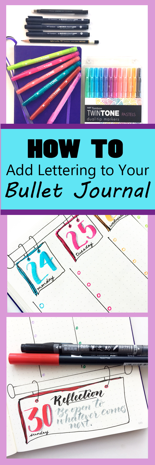 Awesome BUJO ideas and video tutorials for lettering with Tombow pens! www.kellycreates.ca