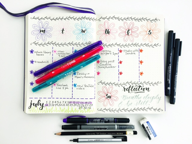 bullet journal, bujo, leuchtturm, notebook, planner, plan, planning, journal, Tombow, lettering, calendar, monthly, monthlie, weekly, weeklie, Creative Memories, August, sunflower, summer, spread,
