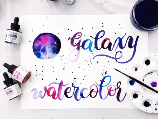 Gorgeous galaxy watercolor effect and an awesome video tutorial www.kellycreates.ca