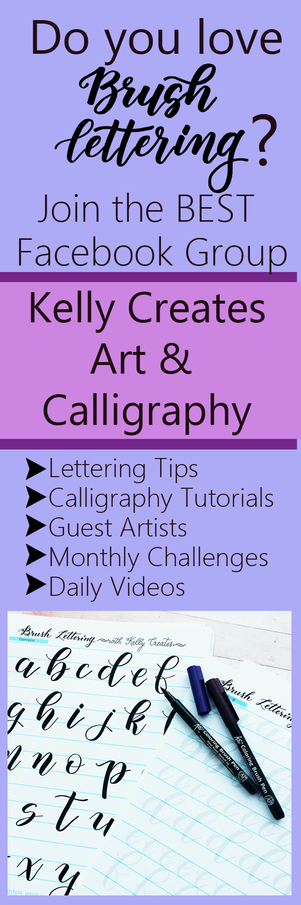I found the best Facebook group for calligraphy and lettering! So friendly and inspiring and TONS of helpful tutorials and videos Kelly Creates Art & Calligraphy