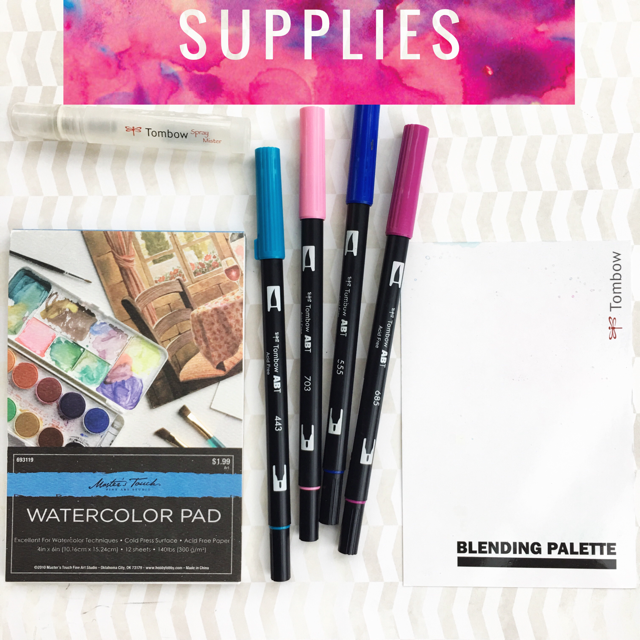 3 simple techniques to create watercolour backgrounds using Tombow Dual Brush pens for hand lettering, crafts, cards, and more www.kellycreates.ca