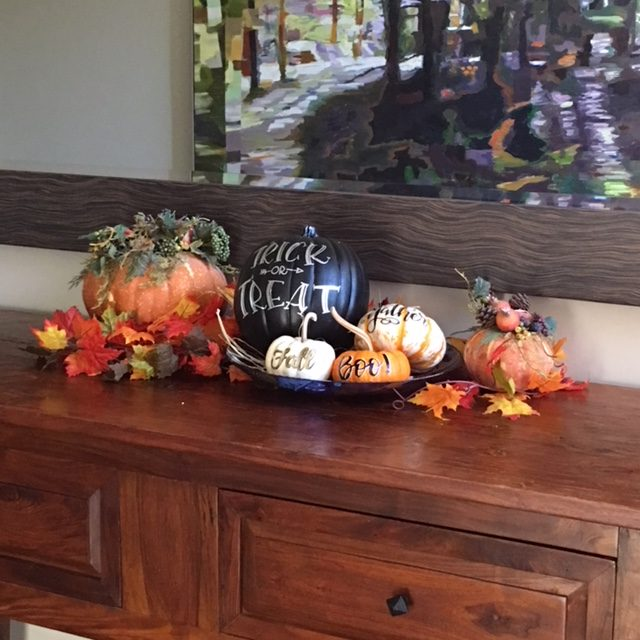 Hand lettering and calligraphy on pumpkins for Halloween and Thanksgiving home and party ideas and decorations