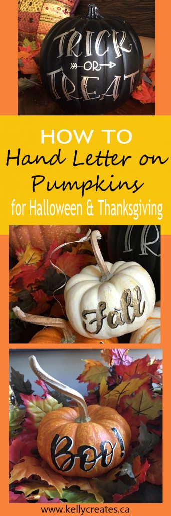 how to hand letter on pumpkins for halloween and thanksgiving party decorations