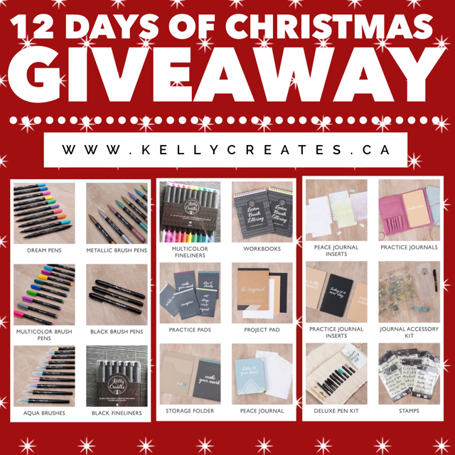 Win the NEW Kelly Creates calligraphy and lettering pens, paper pads, journals, stamps and more from American Crafts. Christmas Giveaway, 12 Days of Christmas,
