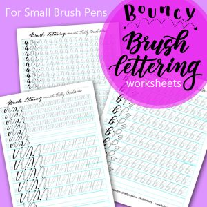 LOVE these bouncy lettering worksheets. They are perfect for small brush pens from Kelly Creates. Lots of repetitive practice builds muscle memory.