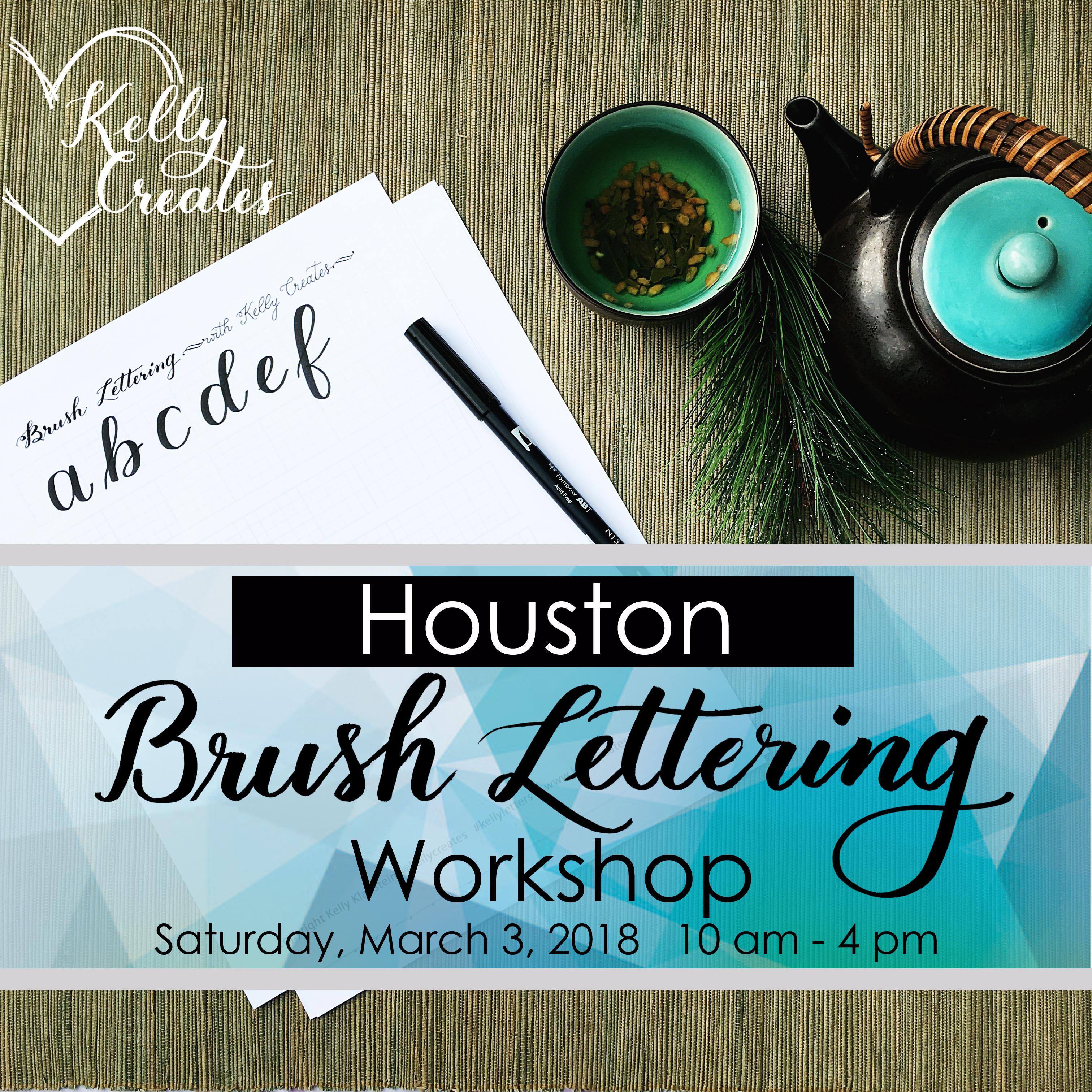 Houston Beginner Brush Lettering Workshop Kelly Creates