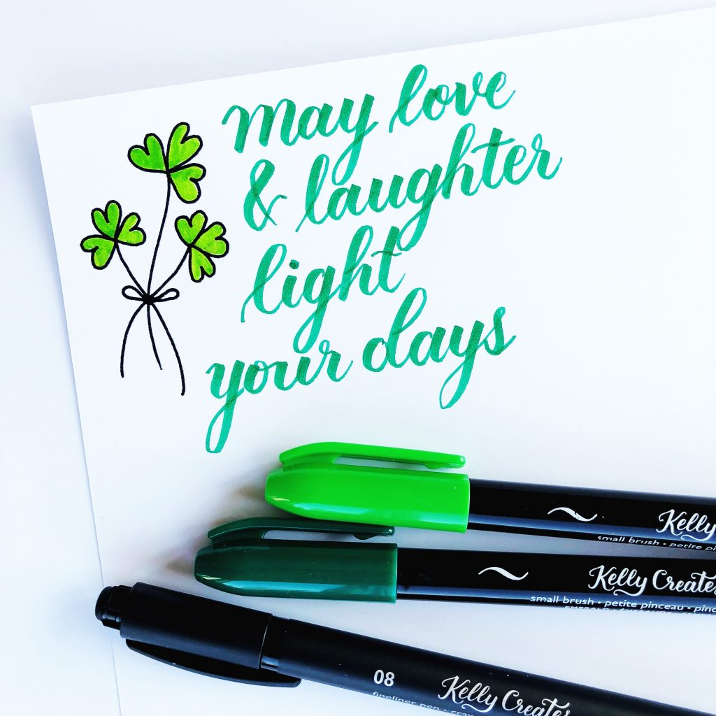 Irish Blessing March 2018 calligraphy with Kelly Creates brush pens Multicolor Small Brush Pens . Cute shamrocks with hearts