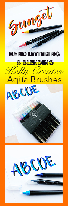 Learn cool 3D hand lettering techniques with Kelly Creates Aqua Brushes, calligraphy, lettering,