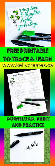 Free download worksheet to print and practice with a brush pen from Kelly Creates, Kelly Klapstein Learn calligraphy and lettering