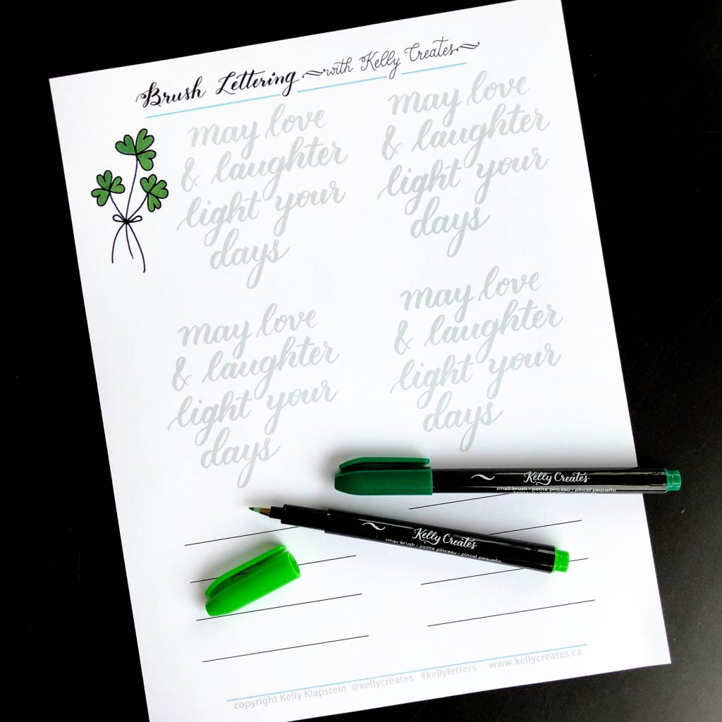 Free tracing worksheet, guide, template for Small brush pens worksheet from Kelly Klapstein using Kelly Creates small brush pens @americancrafts #kellycreates Irish blessing St. Patrick's Day
