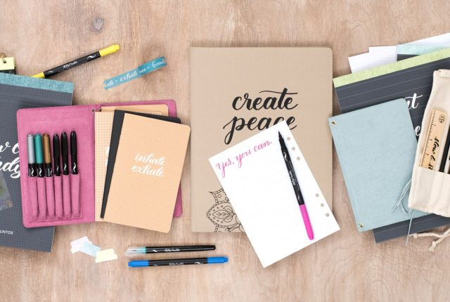 Learn calligraphy, brush lettering with Kelly Creates workbooks and brush pens, journals, practice pads, and more