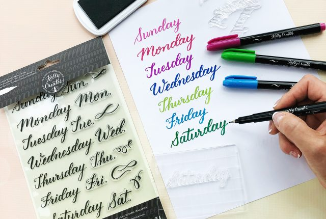 learn calligraphy with kelly creates stamp sets. Easy stamp and trace technique for Small Brush tip pens.