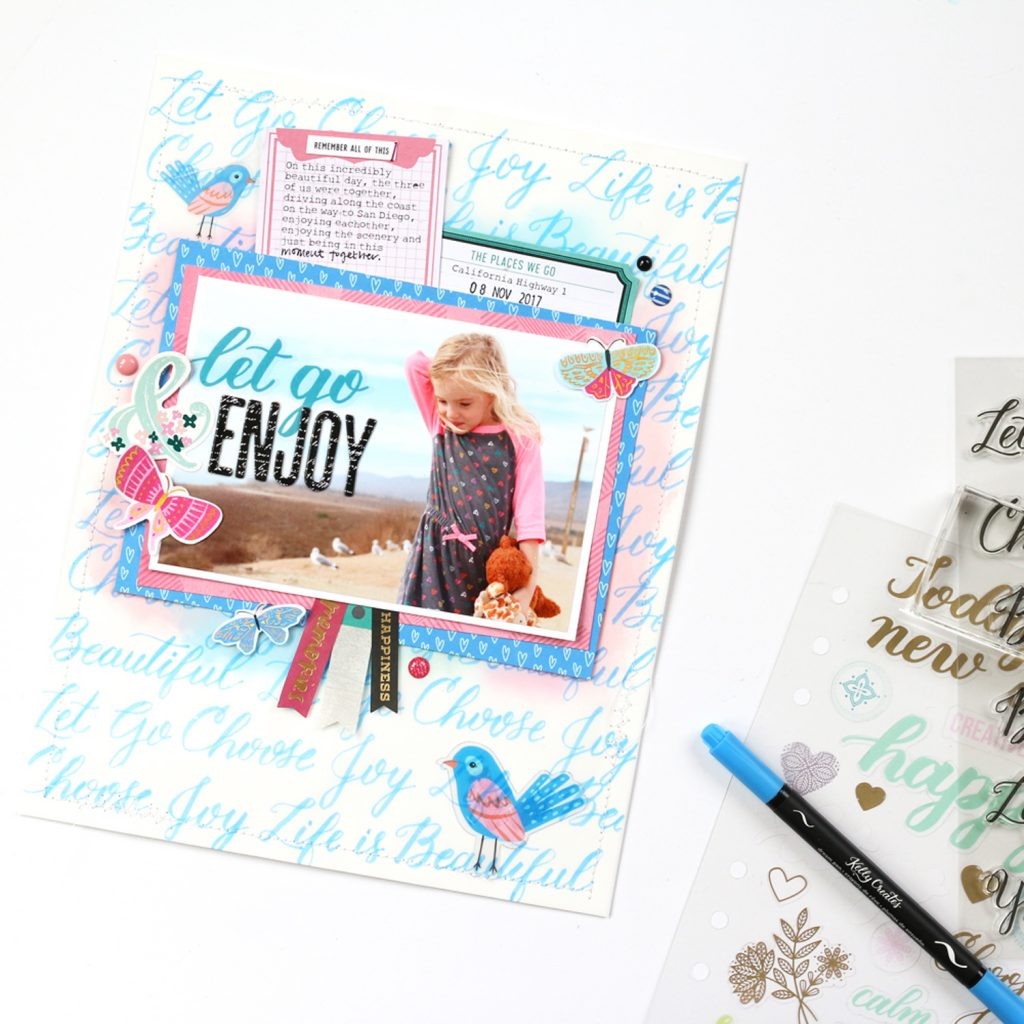 Use Kelly Creates word calligraphy stamps to trace and learn lettering with brush pens for cards and scrapbook layouts