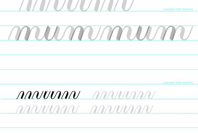 FREE practice worksheet to download and print from Kelly Creates, Learn calligraphy and brush lettering