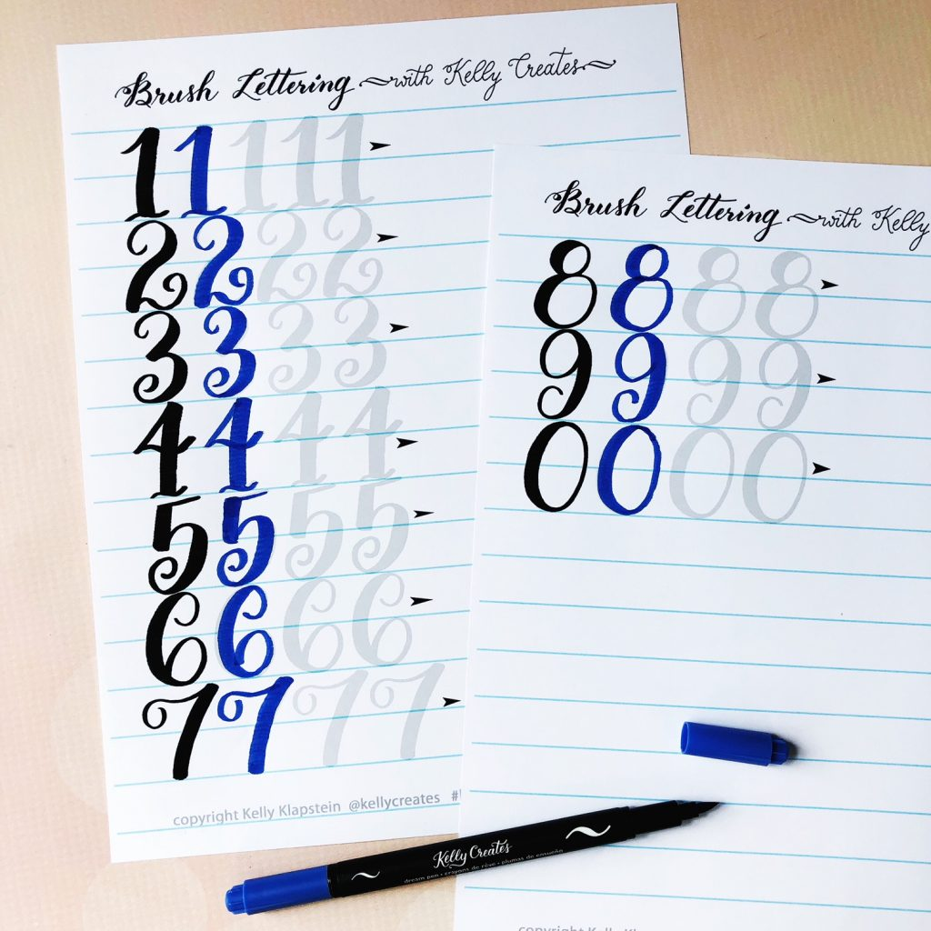 Learn tracing brush lettering calligraphy with this free numbers worksheet guide template kelly creates