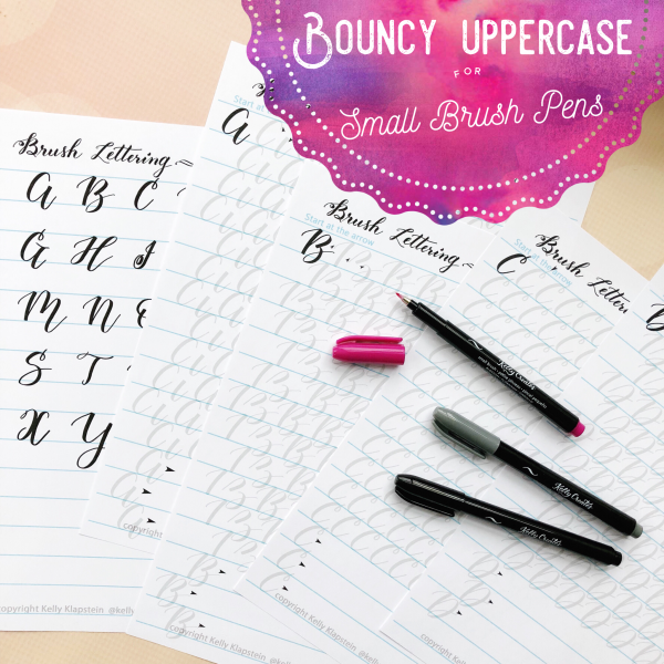 Learn brush lettering and calligraphy and how to hand letter uppercase and capital letters worksheets bouncy modern style with Kelly Creates
