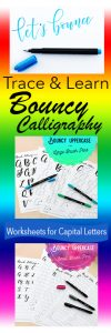 Love learning bouncy calligraphy with these tracing guide worksheets. So much fun! www.kellycreates.ca