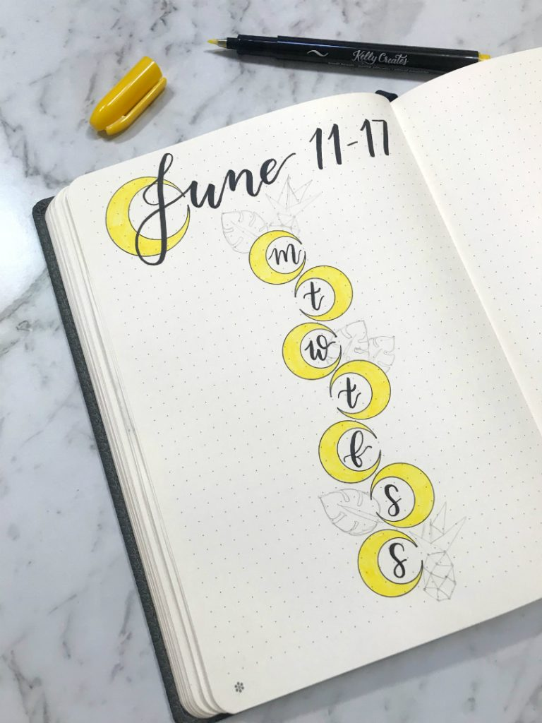 Little Miss Rose, Rose Kurmann tutorial bujo, bullet journal, weekly spread, pineapples, crescent, leaf, week, journal, planner, planning,