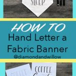 Easy to make DIY home decor fabric banner with hand lettering coffee theme and a tutorial www.kellycreates.ca