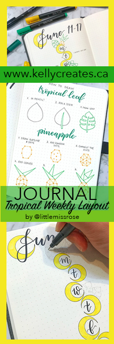 Love this tropical layout with palm leaves and pineapples from Little Miss Rose bullet journal tutorial