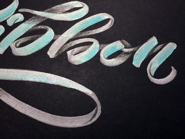 Ribbon Lettering hand lettering tutorial calligraphy with brush pens and Jewel pens Kelly Creates Elizabeth Wise