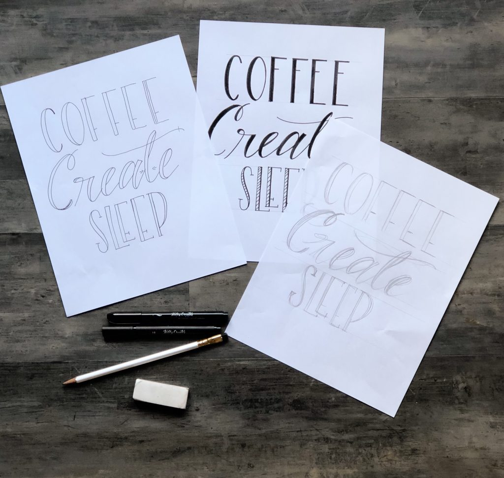 Learn how to make this adorable coffee theme fabric banner with hand lettering and pens with Bonnie Peters on www.kellycreates.ca