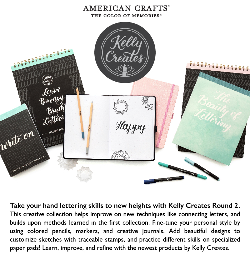 NEW Releases for Hand lettering calligraphy with Kelly Creates brand brush pens journals and more! www.kellycreates.ca